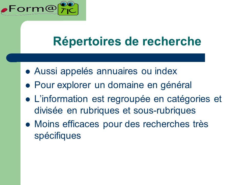 Répertoires de recherche Aussi appelés annuaires ou index Pour explorer un domaine en général Linformation est regroupée en catégories et divisée en rubriques et sous-rubriques Moins efficaces pour des recherches très spécifiques