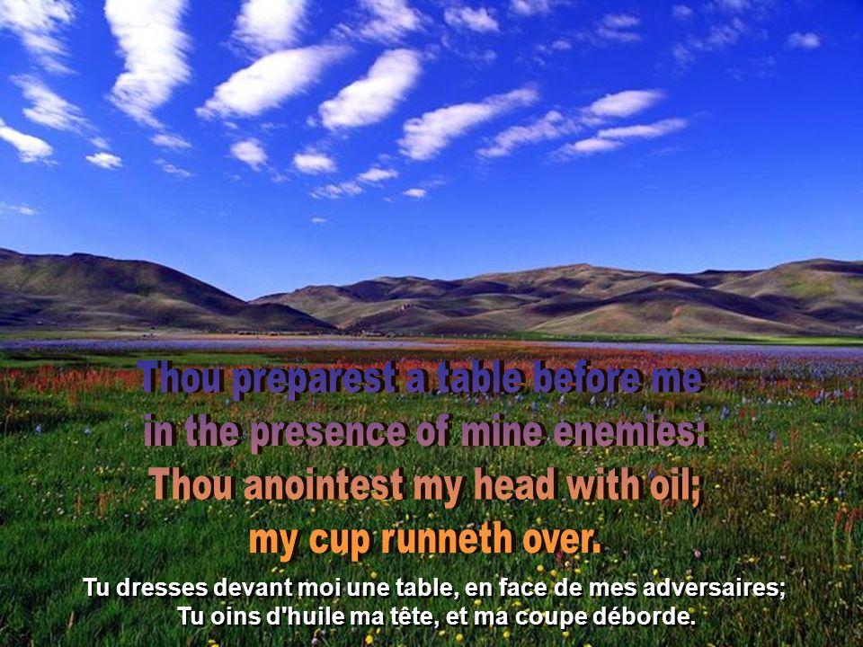 Tu dresses devant moi une table, en face de mes adversaires; Tu oins d huile ma tête, et ma coupe déborde.