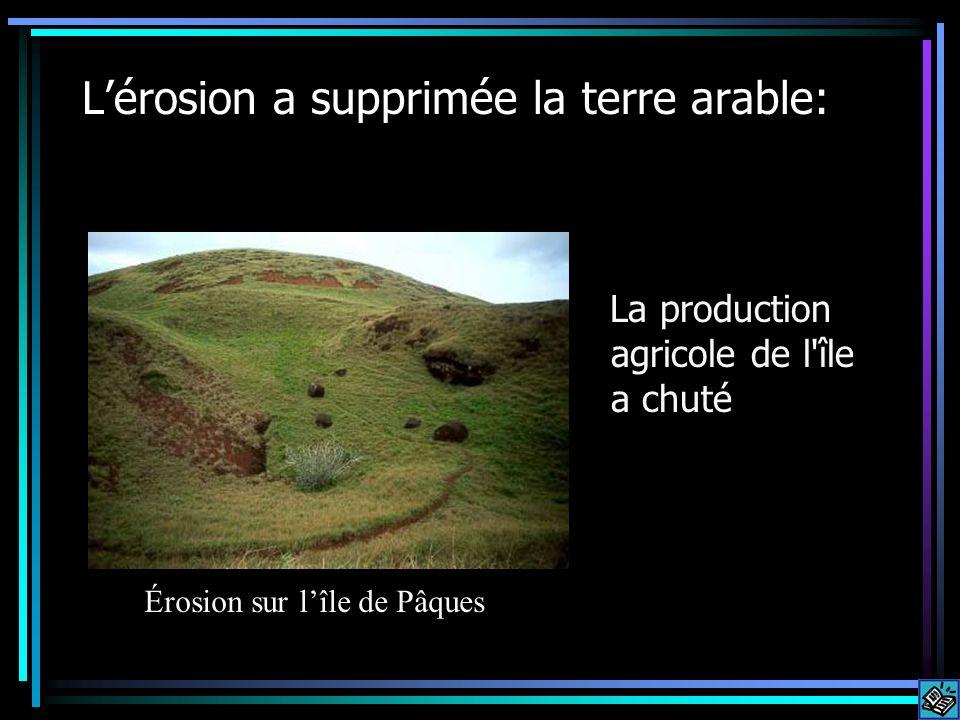 Lérosion a supprimée la terre arable: La production agricole de l'île a chuté Érosion sur lîle de Pâques