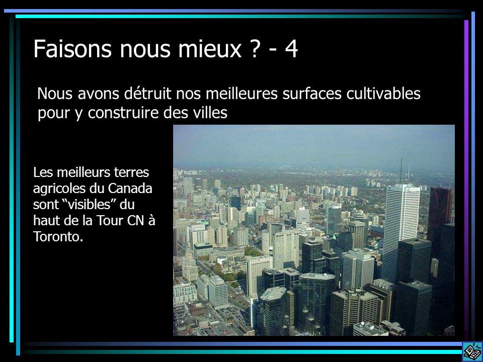 Faisons nous mieux ? - 4 Nous avons détruit nos meilleures surfaces cultivables pour y construire des villes Les meilleurs terres agricoles du Canada