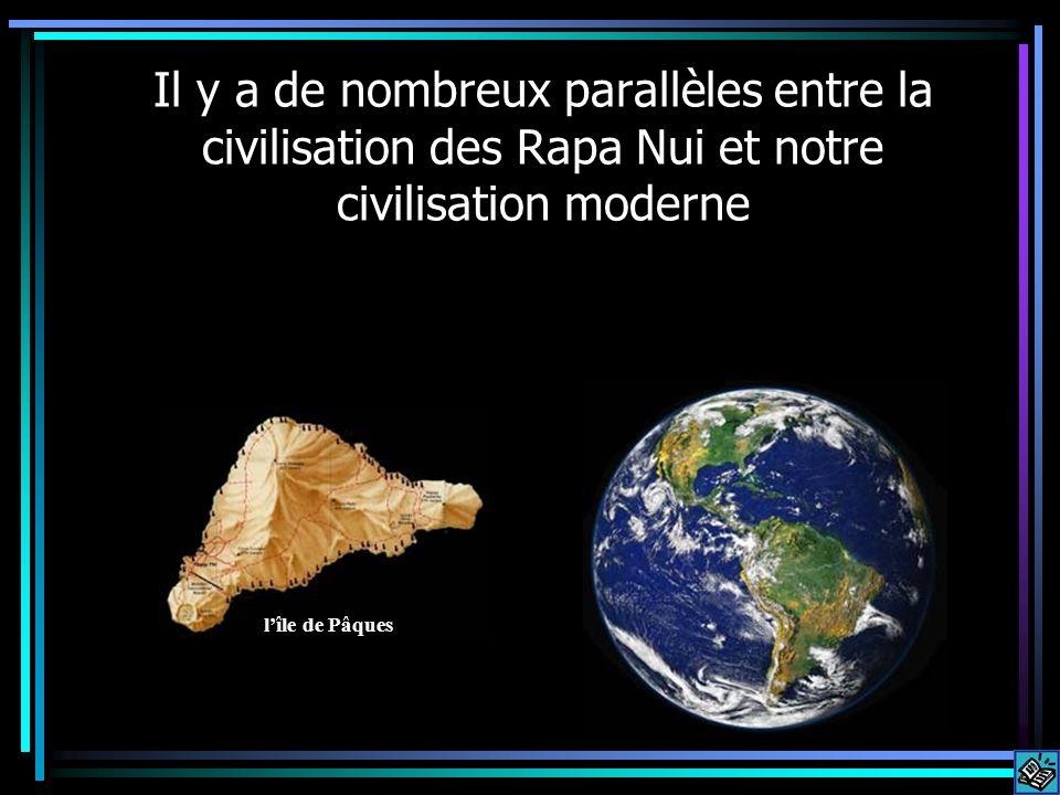 Il y a de nombreux parallèles entre la civilisation des Rapa Nui et notre civilisation moderne lîle de Pâques