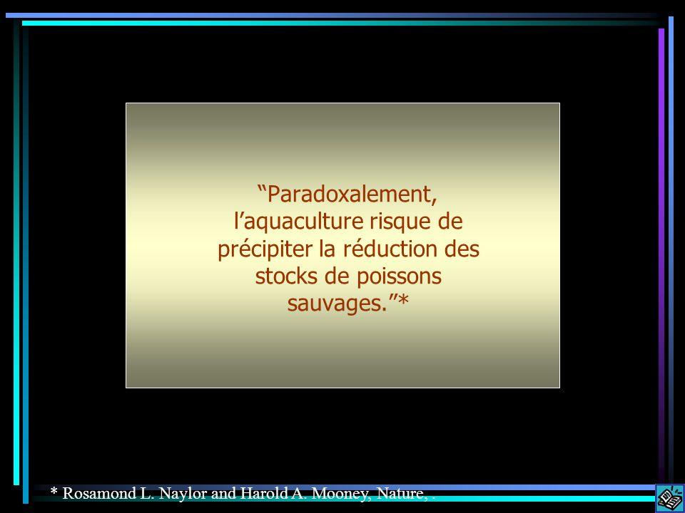 Paradoxalement, laquaculture risque de précipiter la réduction des stocks de poissons sauvages.* * Rosamond L. Naylor and Harold A. Mooney, Nature,.