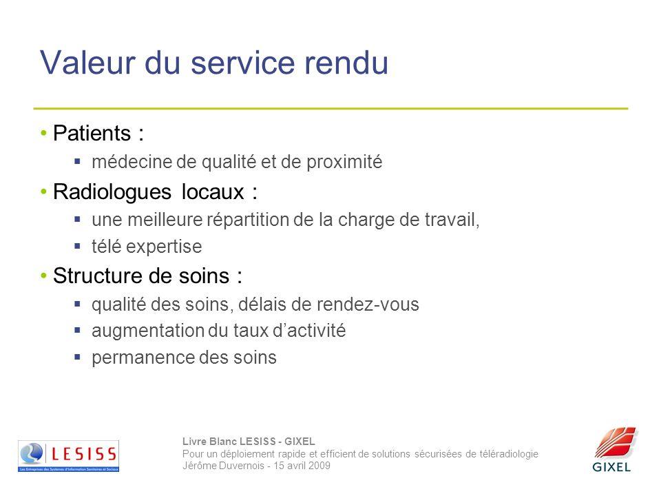 Livre Blanc LESISS - GIXEL Pour un déploiement rapide et efficient de solutions sécurisées de téléradiologie Jérôme Duvernois - 15 avril 2009 Valeur d