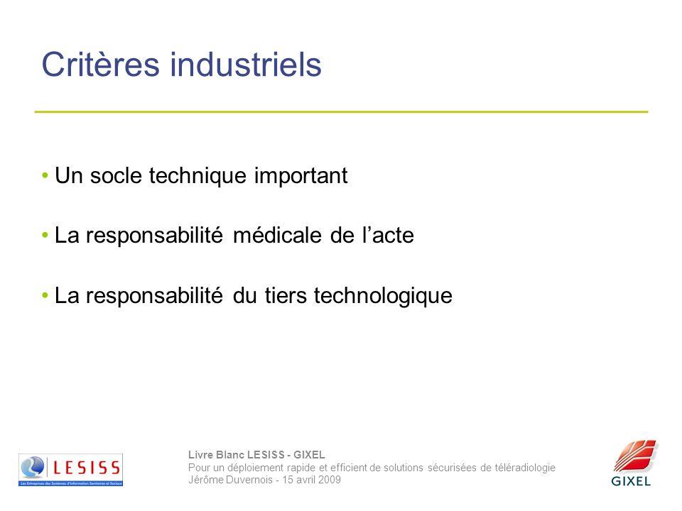 Livre Blanc LESISS - GIXEL Pour un déploiement rapide et efficient de solutions sécurisées de téléradiologie Jérôme Duvernois - 15 avril 2009 Critères