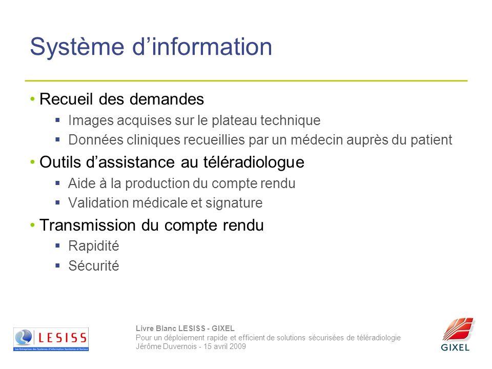 Livre Blanc LESISS - GIXEL Pour un déploiement rapide et efficient de solutions sécurisées de téléradiologie Jérôme Duvernois - 15 avril 2009 Système