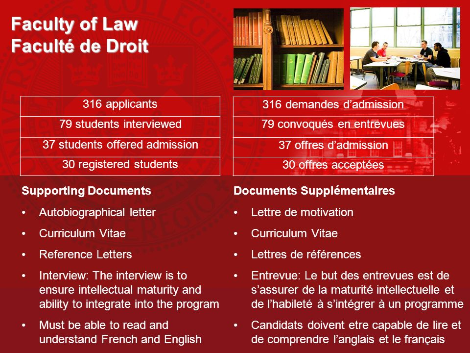 Faculty of Law Faculté de Droit Supporting Documents Autobiographical letter Curriculum Vitae Reference Letters Interview: The interview is to ensure