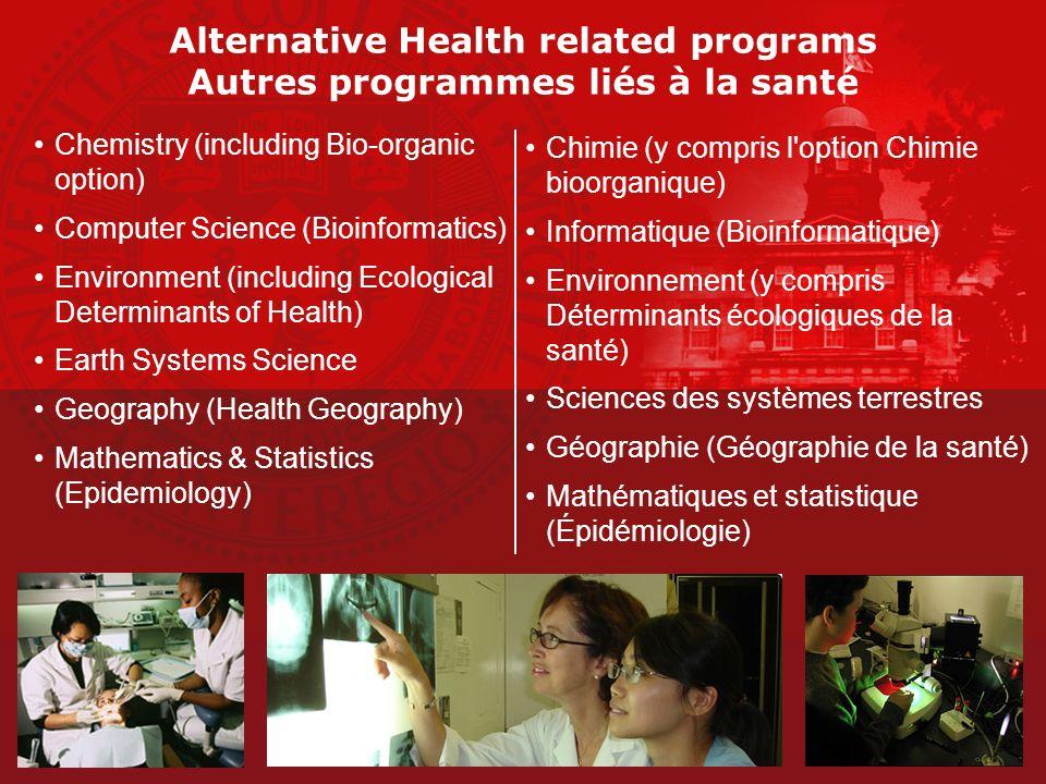 Alternative Health related programs Autres programmes liés à la santé Chemistry (including Bio-organic option) Computer Science (Bioinformatics) Envir