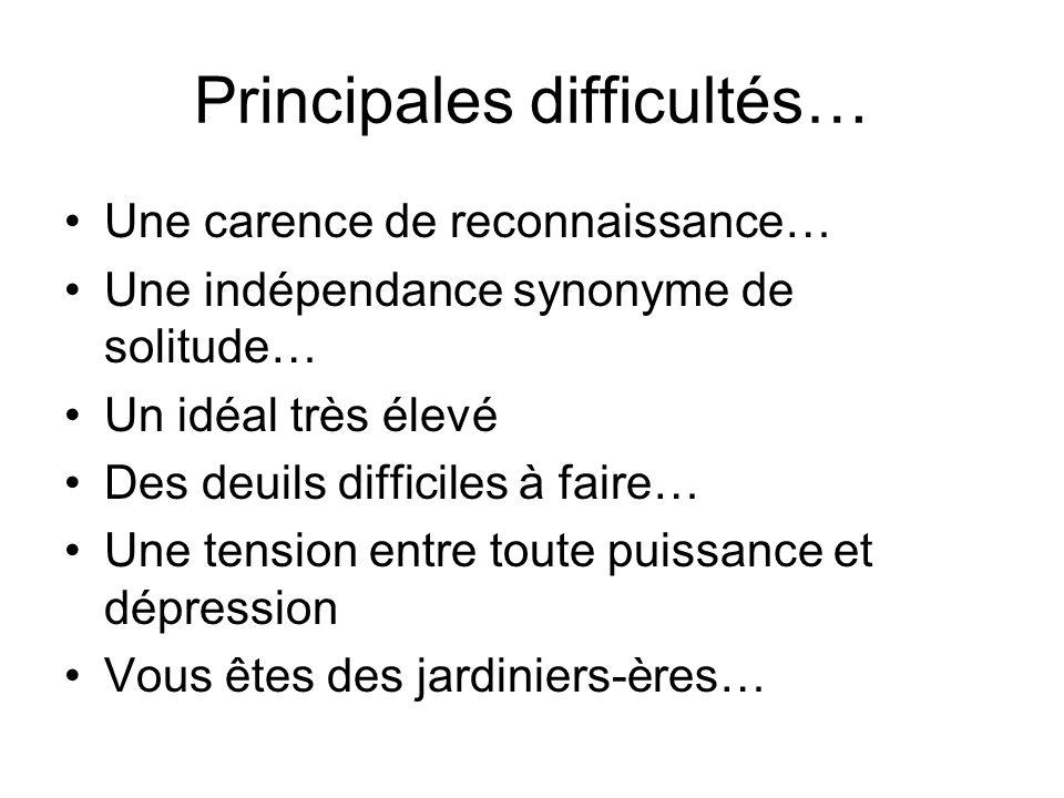 Principales difficultés… Une carence de reconnaissance… Une indépendance synonyme de solitude… Un idéal très élevé Des deuils difficiles à faire… Une