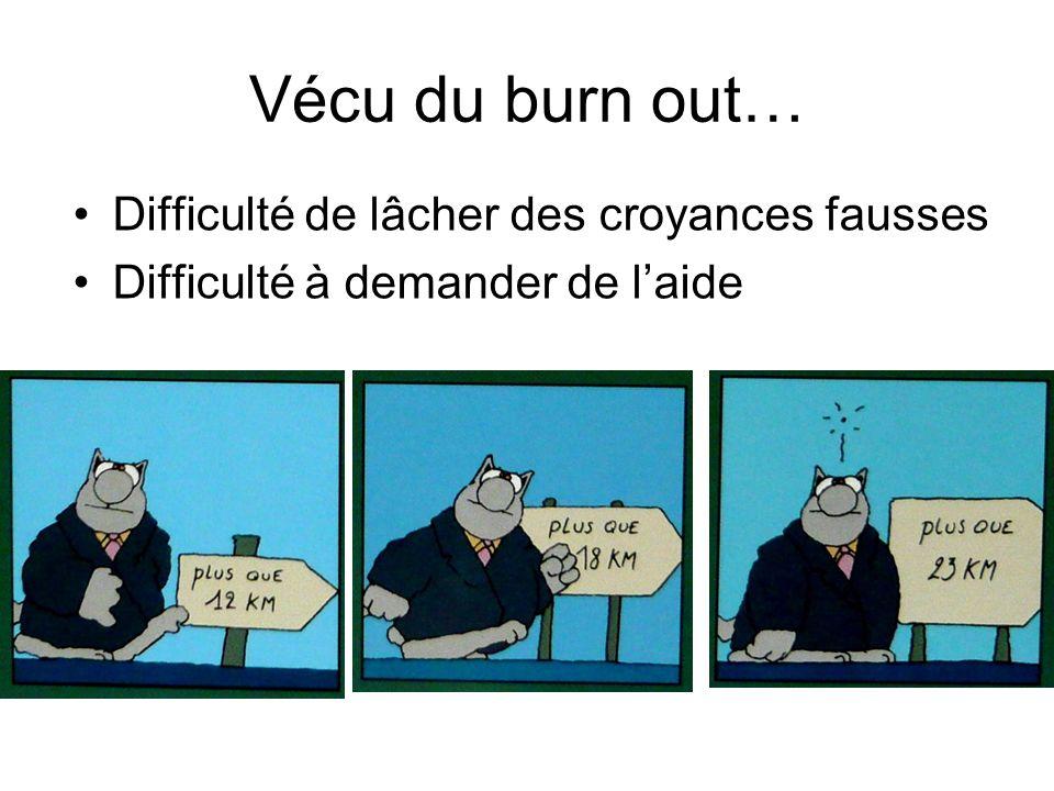 Vécu du burn out… Difficulté de lâcher des croyances fausses Difficulté à demander de laide