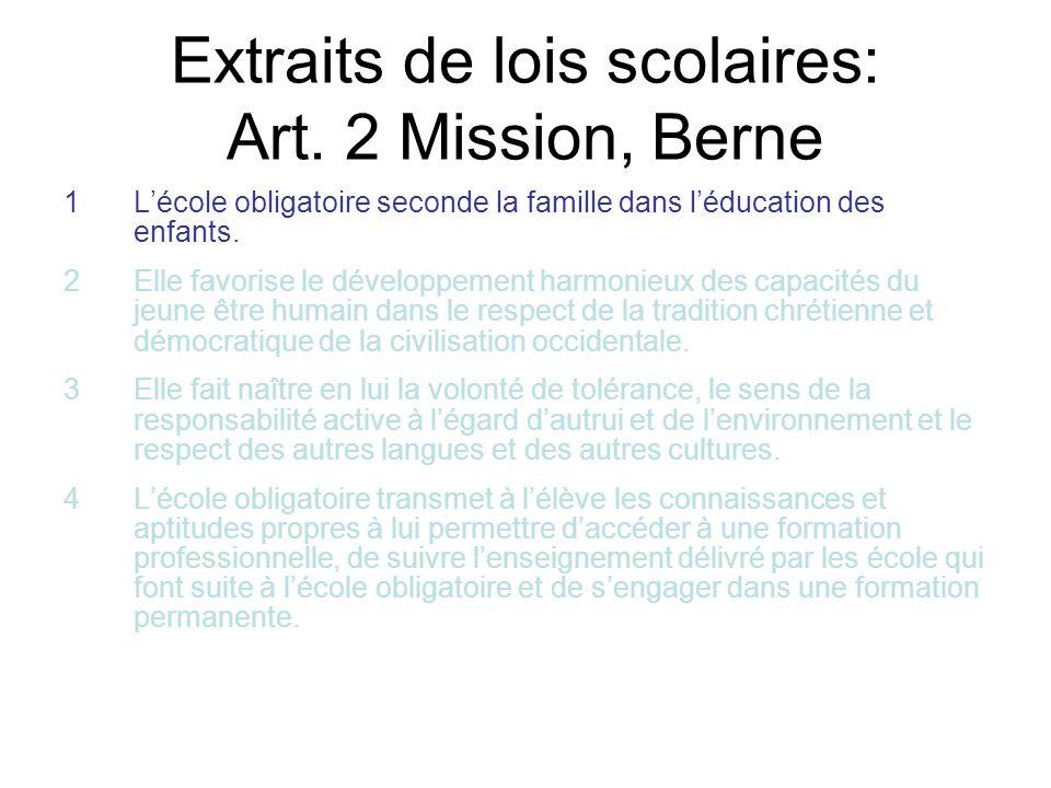 Extraits de lois scolaires: Art. 2 Mission, Berne 1Lécole obligatoire seconde la famille dans léducation des enfants. 2Elle favorise le développement