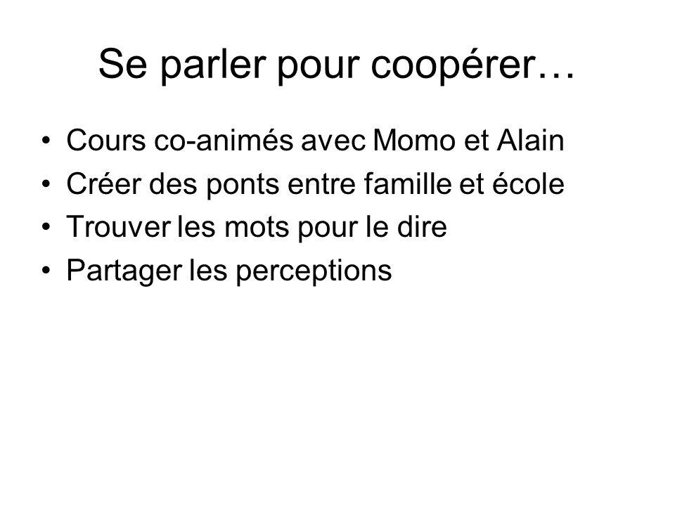 Se parler pour coopérer… Cours co-animés avec Momo et Alain Créer des ponts entre famille et école Trouver les mots pour le dire Partager les percepti