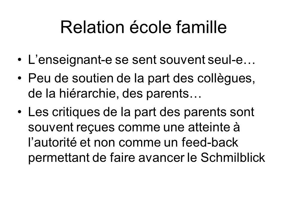 Relation école famille Lenseignant-e se sent souvent seul-e… Peu de soutien de la part des collègues, de la hiérarchie, des parents… Les critiques de