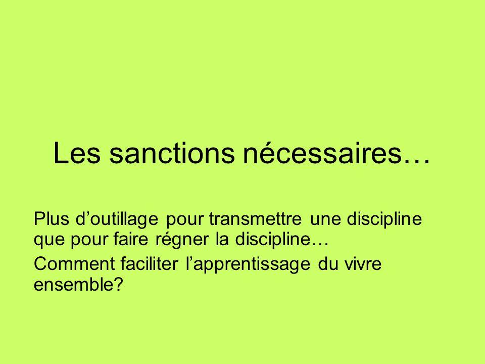Les sanctions nécessaires… Plus doutillage pour transmettre une discipline que pour faire régner la discipline… Comment faciliter lapprentissage du vi