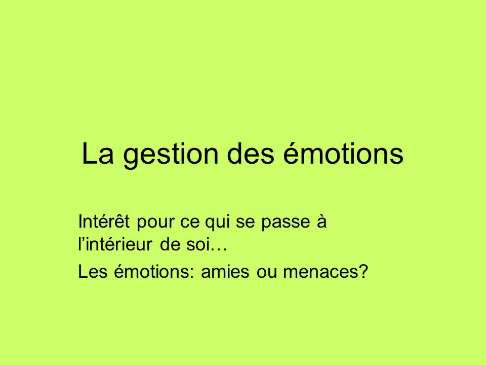 La gestion des émotions Intérêt pour ce qui se passe à lintérieur de soi… Les émotions: amies ou menaces?