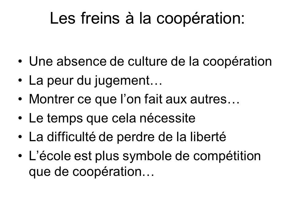 Les freins à la coopération: Une absence de culture de la coopération La peur du jugement… Montrer ce que lon fait aux autres… Le temps que cela néces