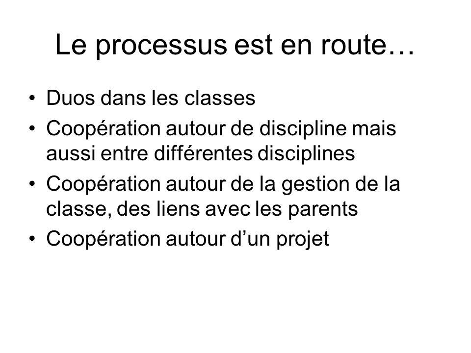 Le processus est en route… Duos dans les classes Coopération autour de discipline mais aussi entre différentes disciplines Coopération autour de la ge