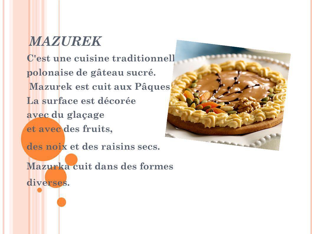 MAZUREK C'est une cuisine traditionnelle, polonaise de gâteau sucré. Mazurek est cuit aux Pâques. La surface est décorée avec du glaçage et avec des f