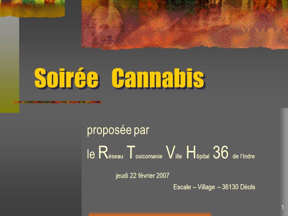 Soirée Cannabis proposée par le R éseau T oxicomanie V ille H ôpital 36 de lIndre jeudi 22 février 2007 Escale – Village – 36130 Déols 1