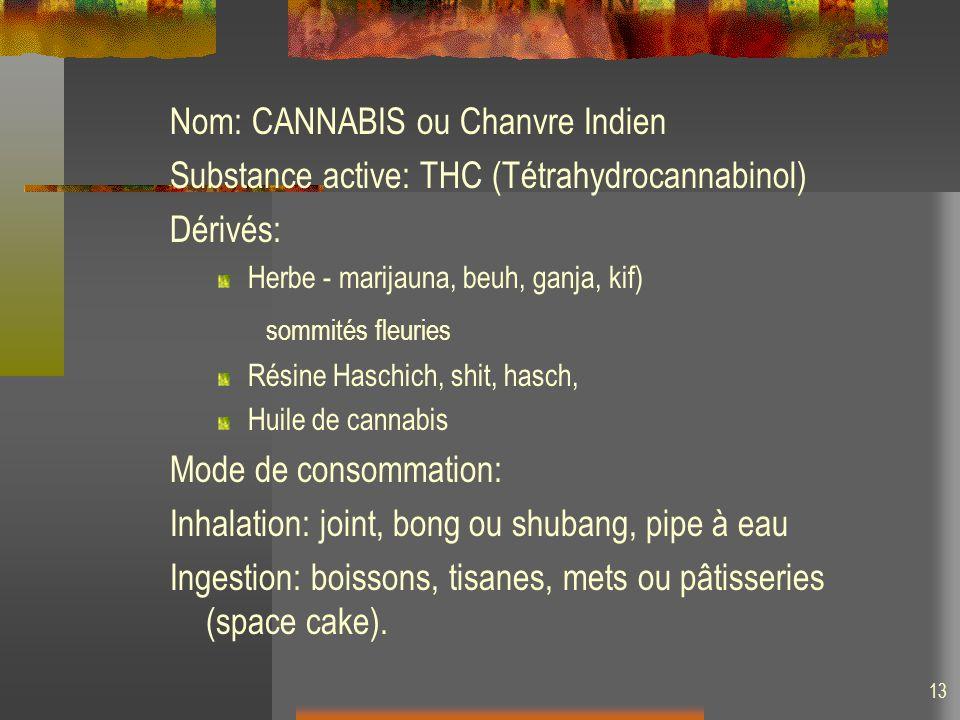 Nom: CANNABIS ou Chanvre Indien Substance active: THC (Tétrahydrocannabinol) Dérivés: Herbe - marijauna, beuh, ganja, kif) sommités fleuries Résine Haschich, shit, hasch, Huile de cannabis Mode de consommation: Inhalation: joint, bong ou shubang, pipe à eau Ingestion: boissons, tisanes, mets ou pâtisseries (space cake).