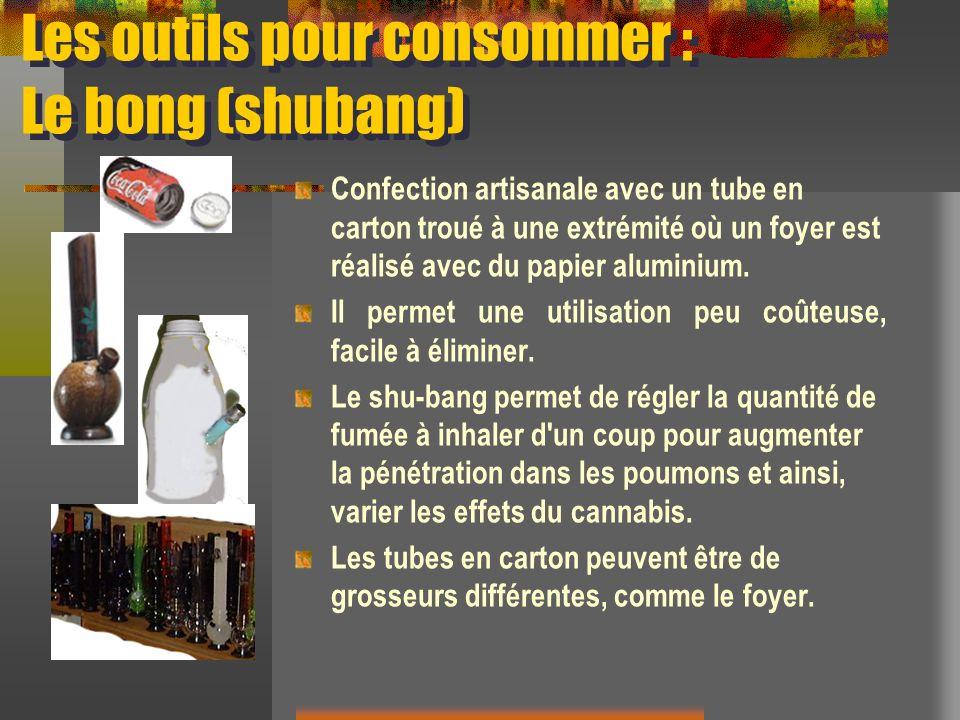 Les outils pour consommer : Le bong (shubang) Confection artisanale avec un tube en carton troué à une extrémité où un foyer est réalisé avec du papie