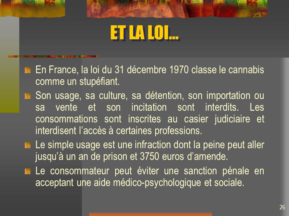 ET LA LOI… En France, la loi du 31 décembre 1970 classe le cannabis comme un stupéfiant. Son usage, sa culture, sa détention, son importation ou sa ve
