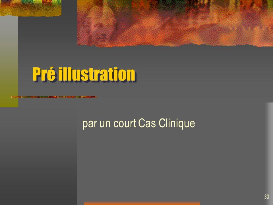 30 Pré illustration par un court Cas Clinique