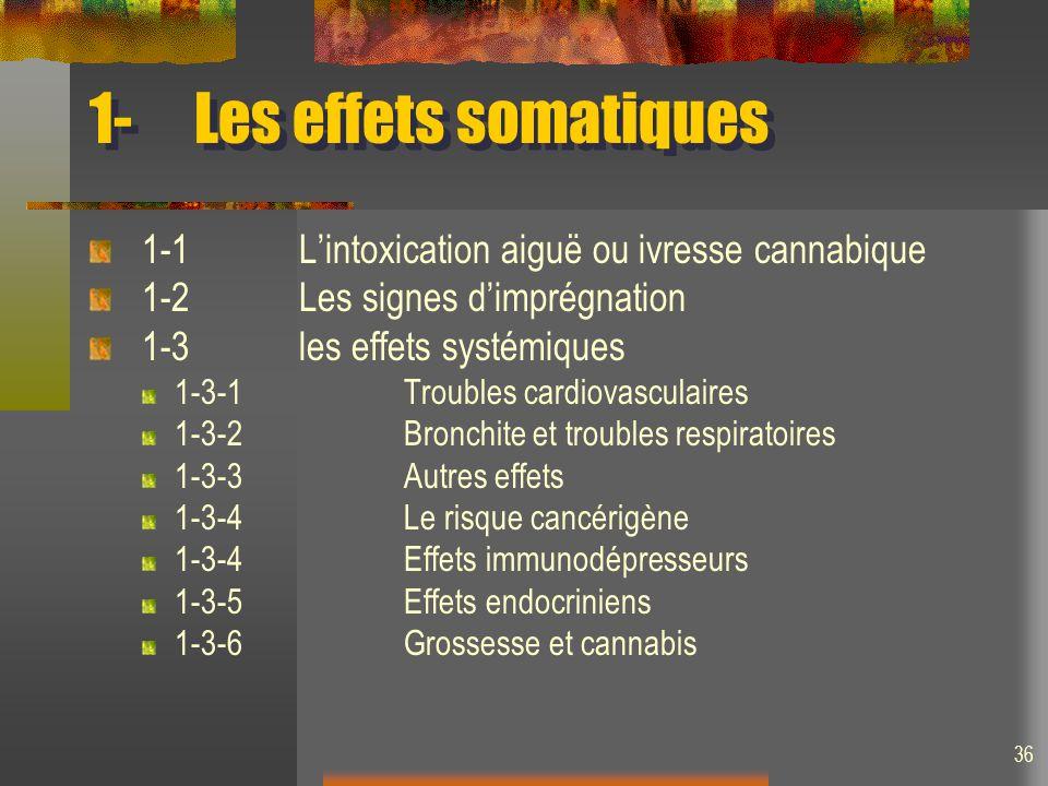36 1-Les effets somatiques 1-1Lintoxication aiguë ou ivresse cannabique 1-2Les signes dimprégnation 1-3les effets systémiques 1-3-1Troubles cardiovasculaires 1-3-2Bronchite et troubles respiratoires 1-3-3Autres effets 1-3-4Le risque cancérigène 1-3-4Effets immunodépresseurs 1-3-5Effets endocriniens 1-3-6Grossesse et cannabis