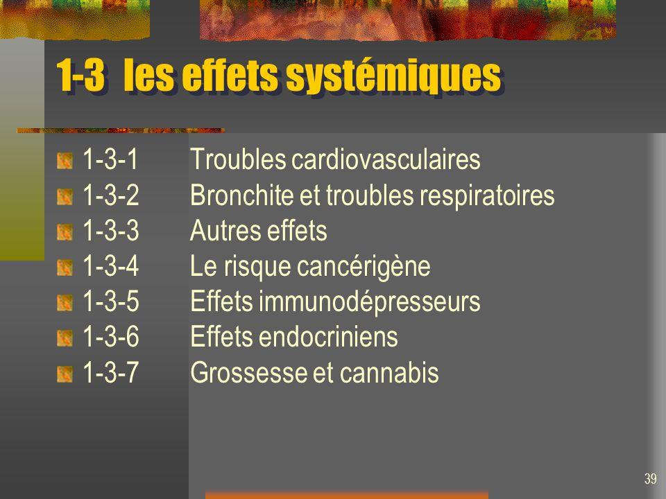 1-3les effets systémiques 1-3-1Troubles cardiovasculaires 1-3-2Bronchite et troubles respiratoires 1-3-3Autres effets 1-3-4Le risque cancérigène 1-3-5Effets immunodépresseurs 1-3-6Effets endocriniens 1-3-7Grossesse et cannabis 39