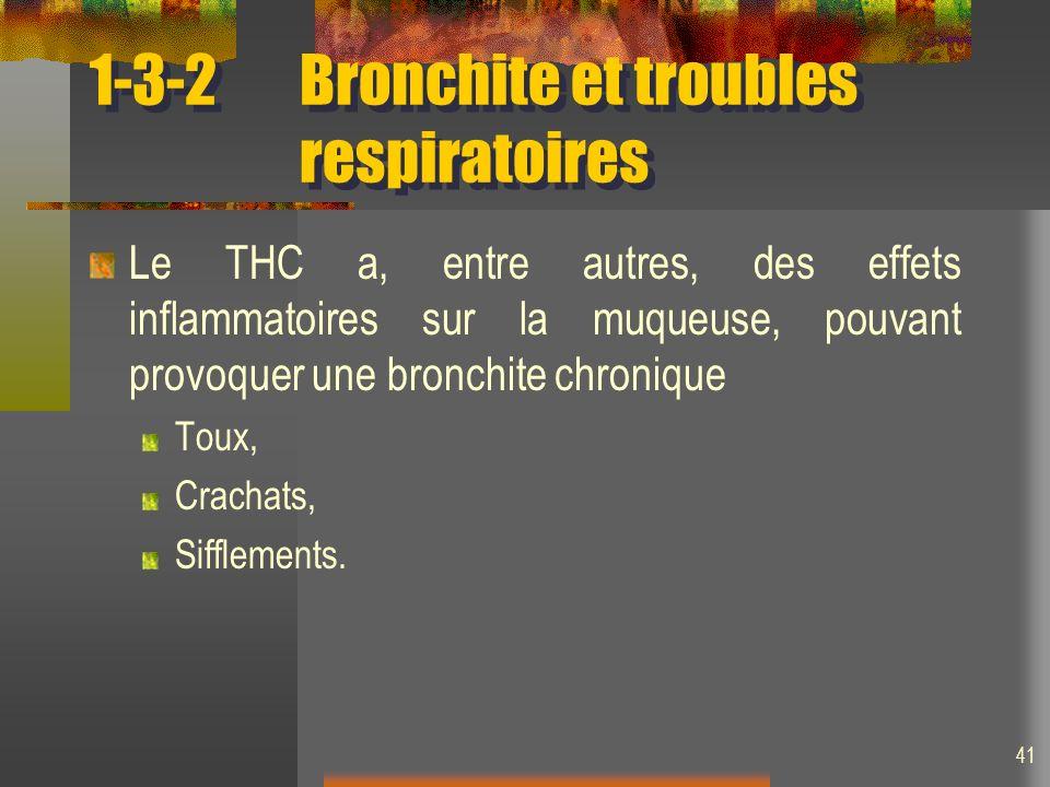 41 1-3-2Bronchite et troubles respiratoires Le THC a, entre autres, des effets inflammatoires sur la muqueuse, pouvant provoquer une bronchite chronique Toux, Crachats, Sifflements.