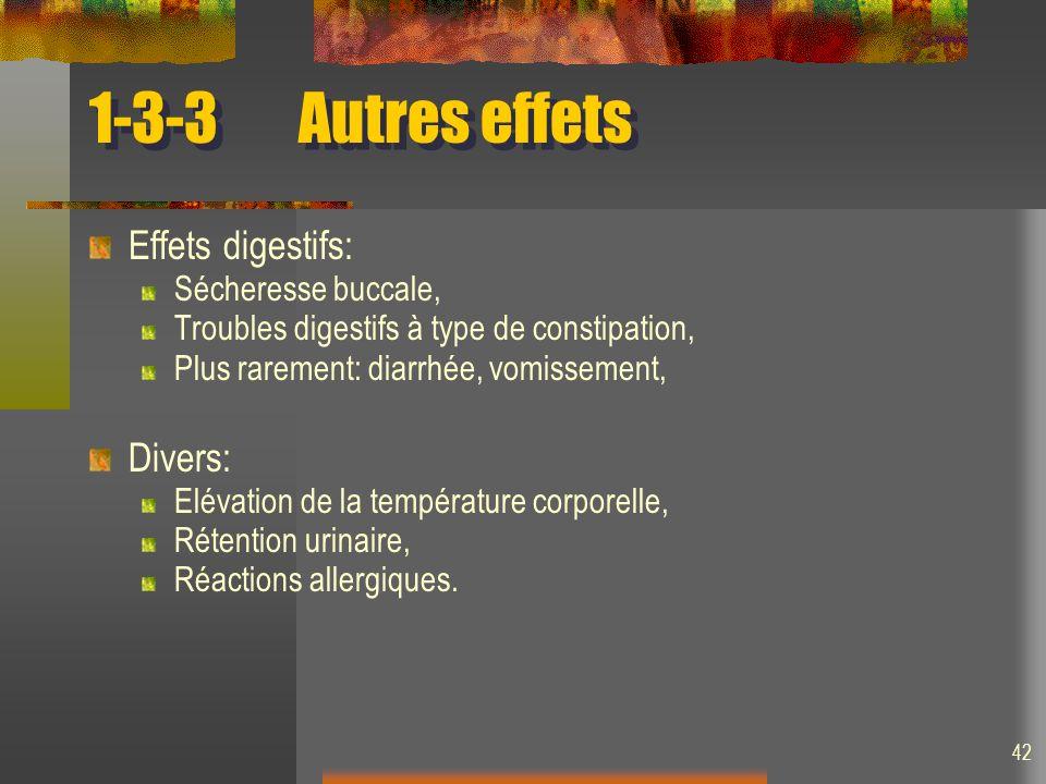 42 1-3-3Autres effets Effets digestifs: Sécheresse buccale, Troubles digestifs à type de constipation, Plus rarement: diarrhée, vomissement, Divers: Elévation de la température corporelle, Rétention urinaire, Réactions allergiques.