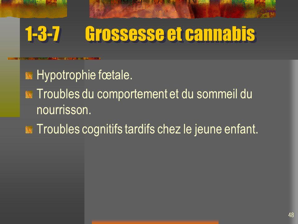 48 1-3-7Grossesse et cannabis Hypotrophie fœtale. Troubles du comportement et du sommeil du nourrisson. Troubles cognitifs tardifs chez le jeune enfan