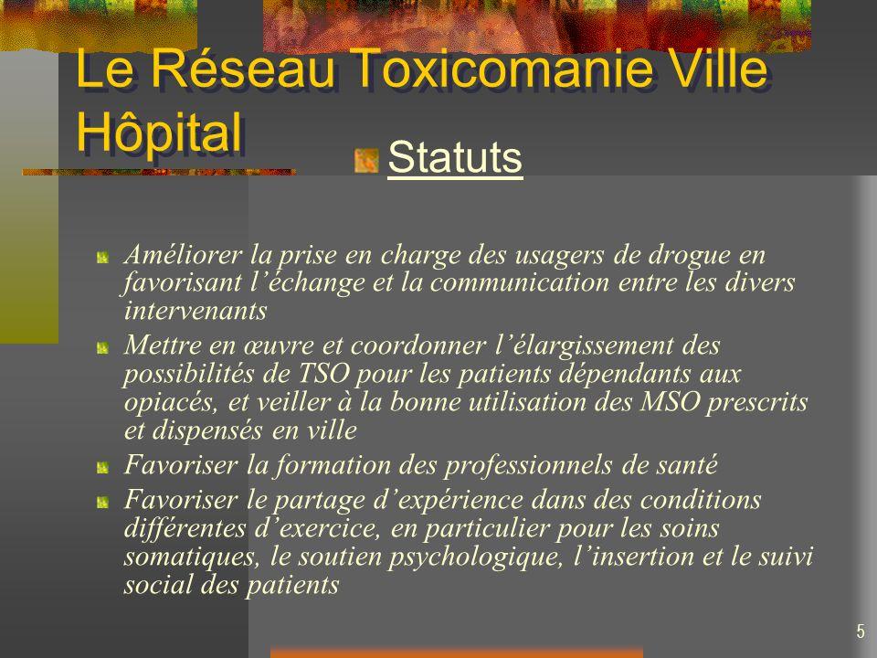 5 Le Réseau Toxicomanie Ville Hôpital Statuts Améliorer la prise en charge des usagers de drogue en favorisant léchange et la communication entre les