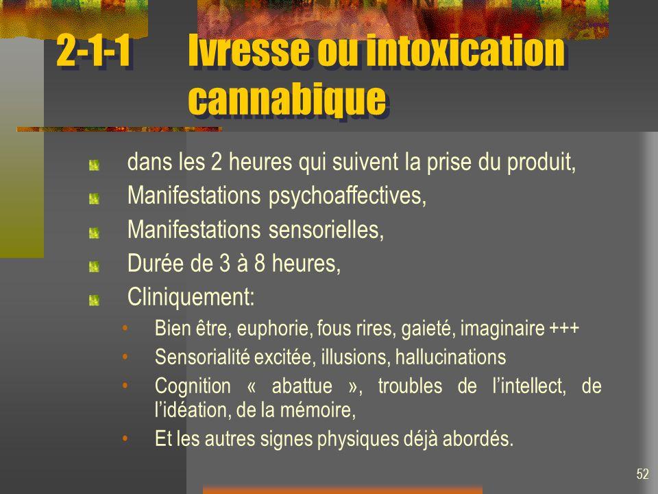 52 2-1-1Ivresse ou intoxication cannabique dans les 2 heures qui suivent la prise du produit, Manifestations psychoaffectives, Manifestations sensorie