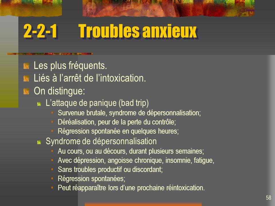 58 2-2-1Troubles anxieux Les plus fréquents. Liés à larrêt de lintoxication. On distingue: Lattaque de panique (bad trip) Survenue brutale, syndrome d