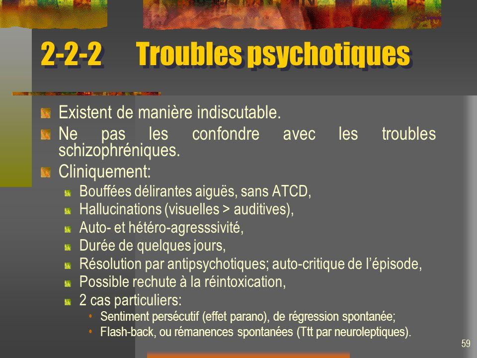 59 2-2-2Troubles psychotiques Existent de manière indiscutable. Ne pas les confondre avec les troubles schizophréniques. Cliniquement: Bouffées délira
