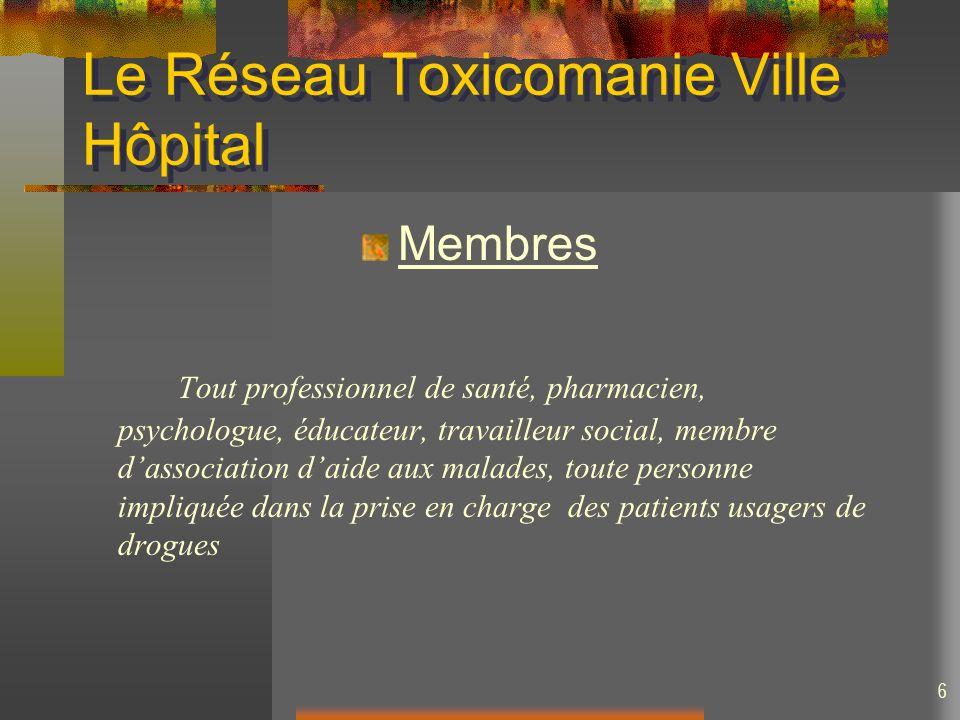 6 Le Réseau Toxicomanie Ville Hôpital Membres Tout professionnel de santé, pharmacien, psychologue, éducateur, travailleur social, membre dassociation
