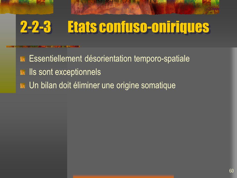 60 2-2-3Etats confuso-oniriques Essentiellement désorientation temporo-spatiale Ils sont exceptionnels Un bilan doit éliminer une origine somatique