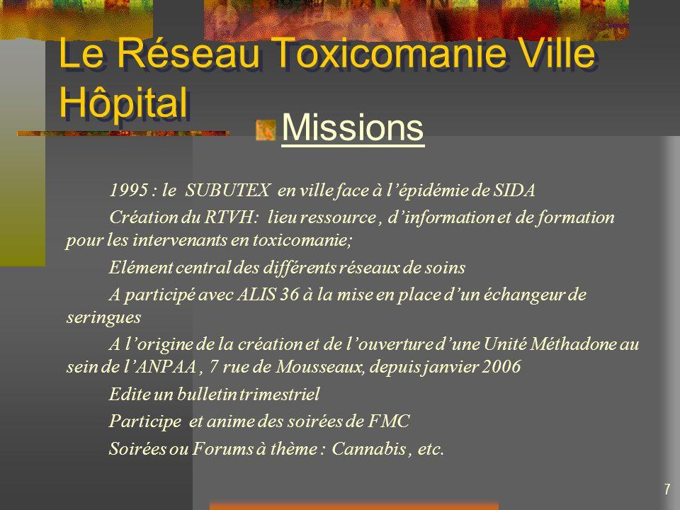 7 Le Réseau Toxicomanie Ville Hôpital Missions 1995 : le SUBUTEX en ville face à lépidémie de SIDA Création du RTVH: lieu ressource, dinformation et d