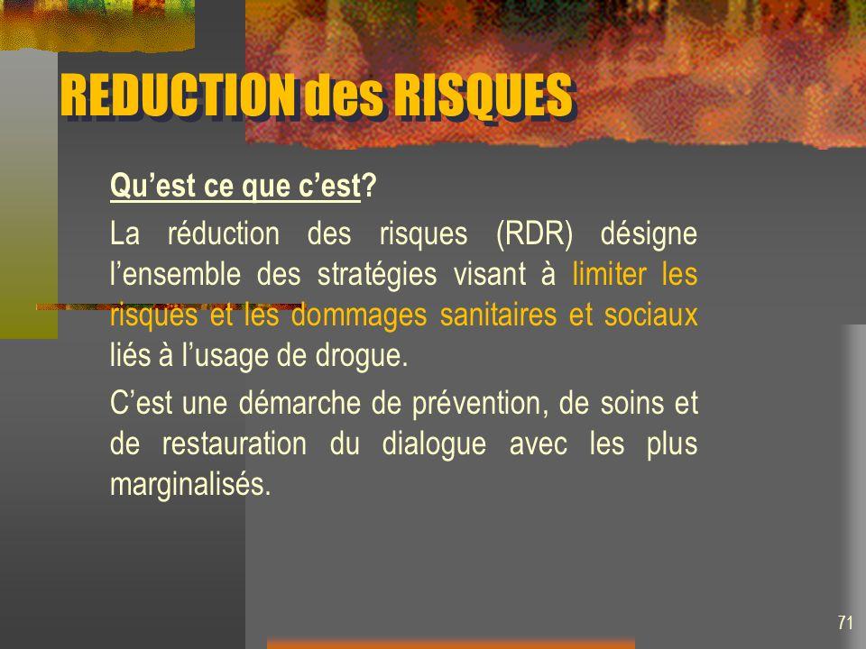 REDUCTION des RISQUES Quest ce que cest? La réduction des risques (RDR) désigne lensemble des stratégies visant à limiter les risques et les dommages