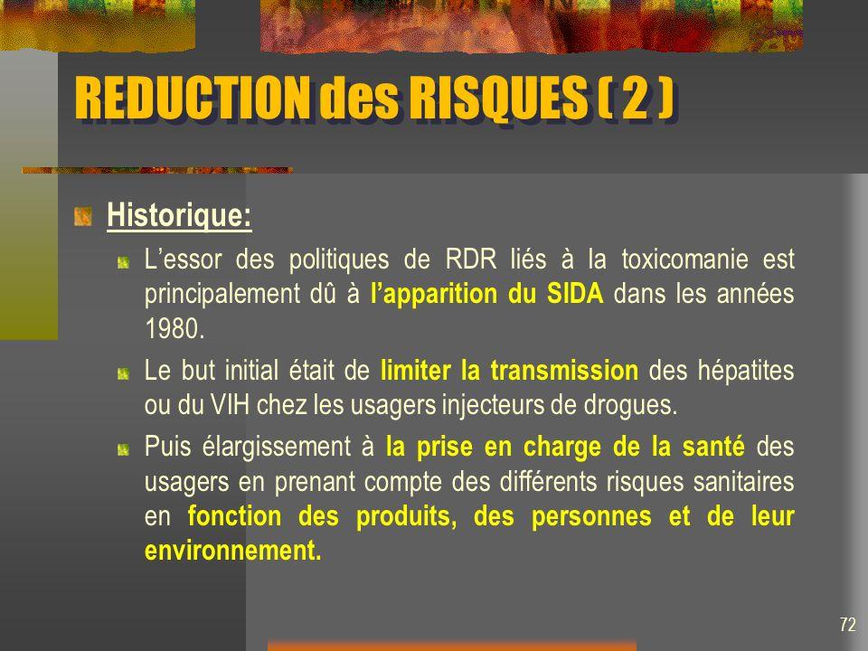 REDUCTION des RISQUES ( 2 ) Historique: Lessor des politiques de RDR liés à la toxicomanie est principalement dû à lapparition du SIDA dans les années