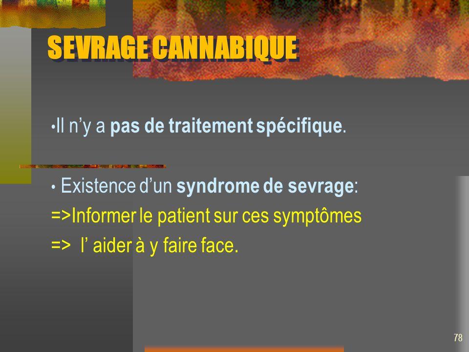 SEVRAGE CANNABIQUE Il ny a pas de traitement spécifique. Existence dun syndrome de sevrage : =>Informer le patient sur ces symptômes => l aider à y fa