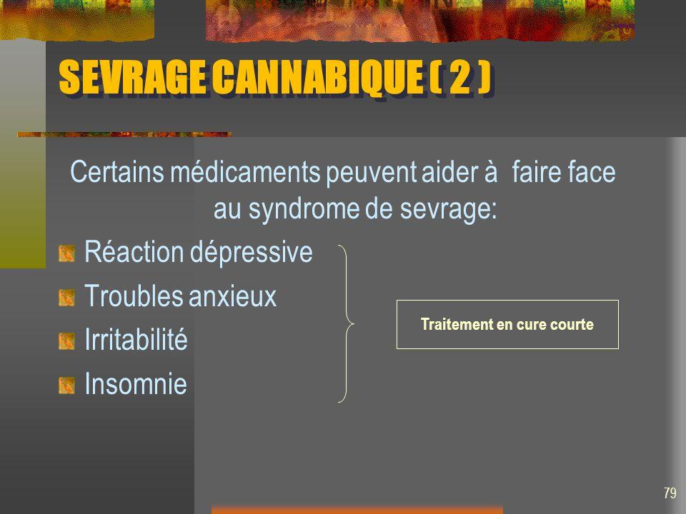SEVRAGE CANNABIQUE ( 2 ) Certains médicaments peuvent aider à faire face au syndrome de sevrage: Réaction dépressive Troubles anxieux Irritabilité Insomnie Traitement en cure courte 79