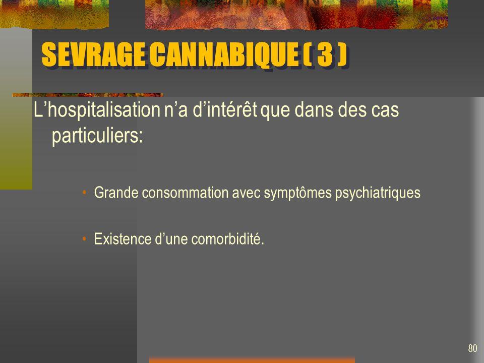 SEVRAGE CANNABIQUE ( 3 ) Lhospitalisation na dintérêt que dans des cas particuliers: Grande consommation avec symptômes psychiatriques Existence dune comorbidité.