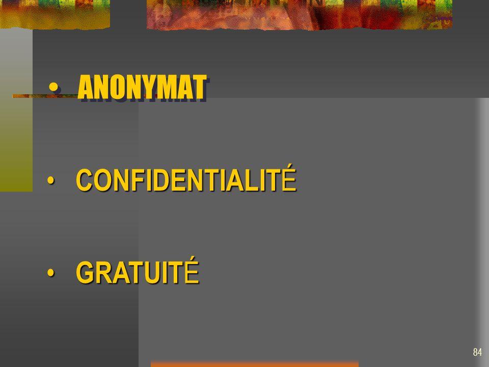 ANONYMAT GRATUIT É GRATUIT É CONFIDENTIALIT É CONFIDENTIALIT É 84