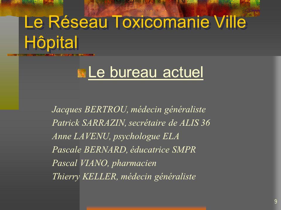 9 Le Réseau Toxicomanie Ville Hôpital Le bureau actuel Jacques BERTROU, médecin généraliste Patrick SARRAZIN, secrétaire de ALIS 36 Anne LAVENU, psych