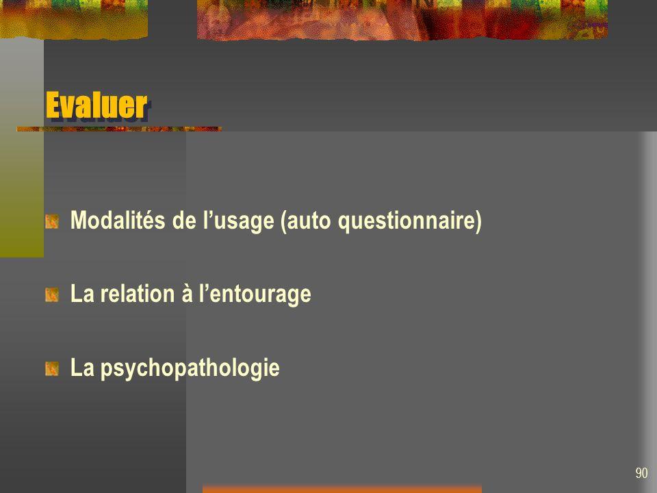 Evaluer Modalités de lusage (auto questionnaire) La relation à lentourage La psychopathologie 90