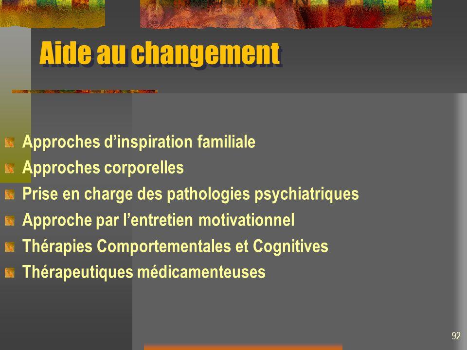 Aide au changement Approches dinspiration familiale Approches corporelles Prise en charge des pathologies psychiatriques Approche par lentretien motivationnel Thérapies Comportementales et Cognitives Thérapeutiques médicamenteuses 92