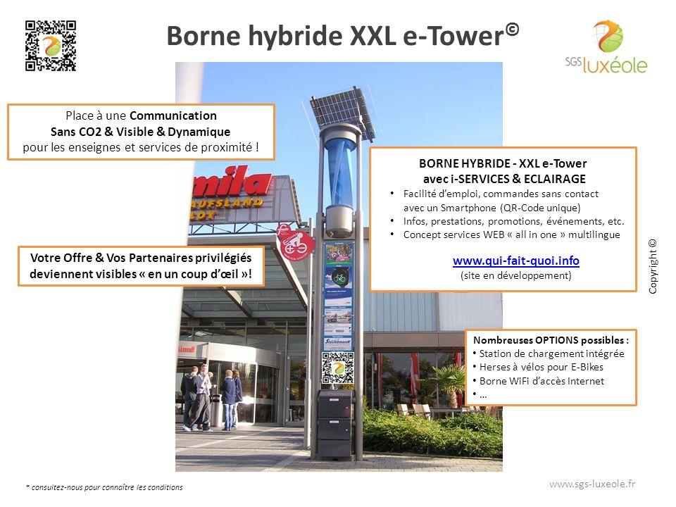 Borne hybride XXL e-Tower © Place à une Communication Sans CO2 & Visible & Dynamique pour les enseignes et services de proximité .