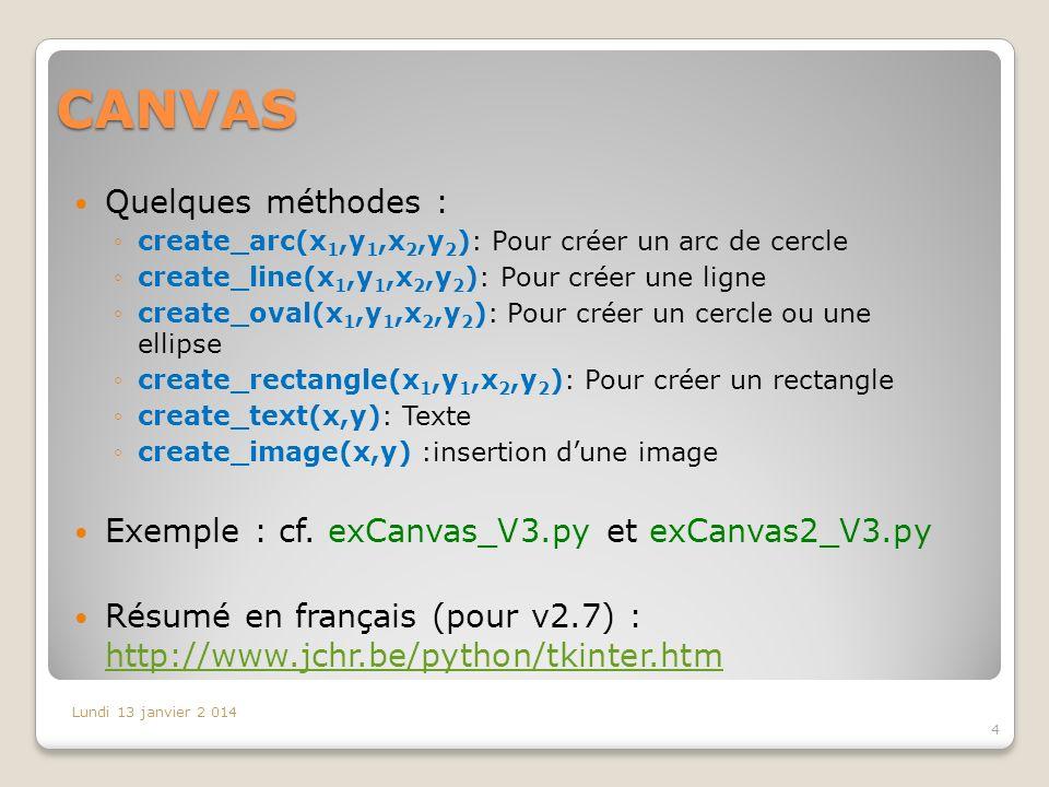 CANVAS Quelques méthodes : create_arc(x 1,y 1,x 2,y 2 ): Pour créer un arc de cercle create_line(x 1,y 1,x 2,y 2 ): Pour créer une ligne create_oval(x 1,y 1,x 2,y 2 ): Pour créer un cercle ou une ellipse create_rectangle(x 1,y 1,x 2,y 2 ): Pour créer un rectangle create_text(x,y): Texte create_image(x,y) :insertion dune image Exemple : cf.