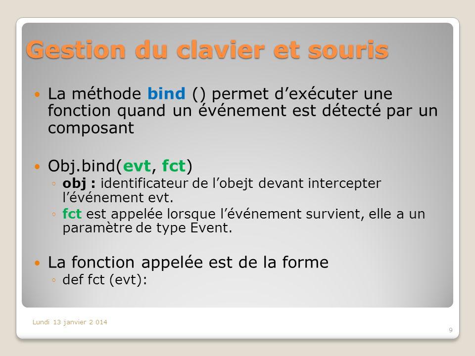 Gestion du clavier et souris La méthode bind () permet dexécuter une fonction quand un événement est détecté par un composant Obj.bind(evt, fct) obj :